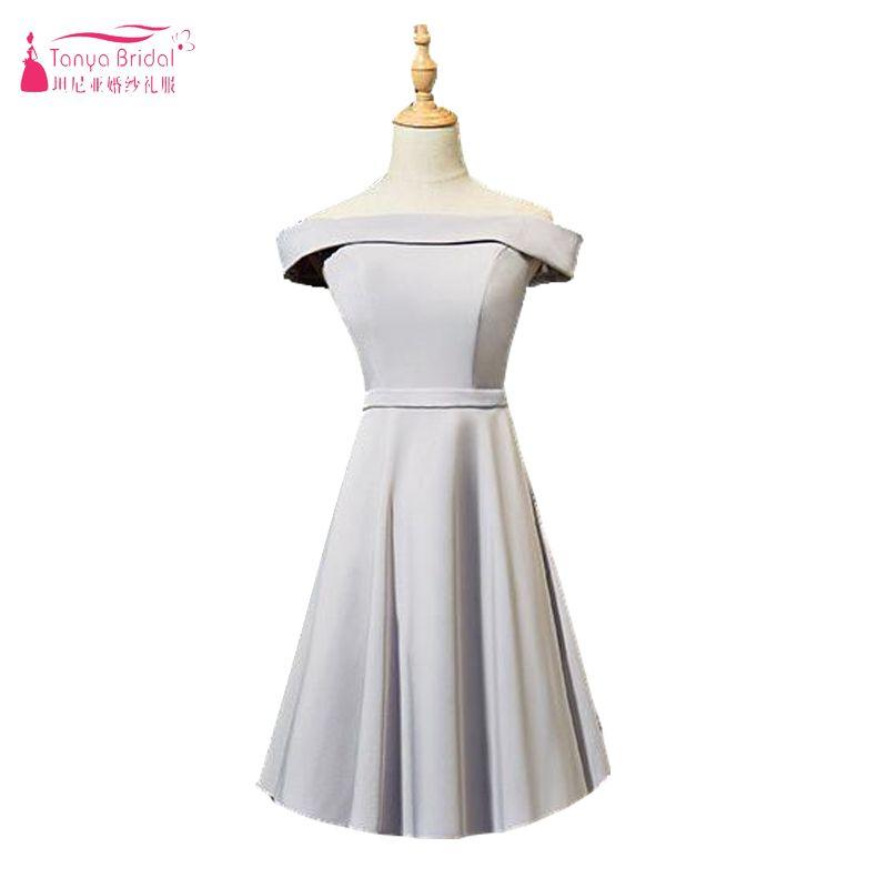 90368eb12 Compre Light Grey Dresses De Dama De Honra Off Ombro Curto Soft Satin Maid  Of Honor Vestidos Cheap Wedding Guest Dress 6 Styles Party Wear De ...