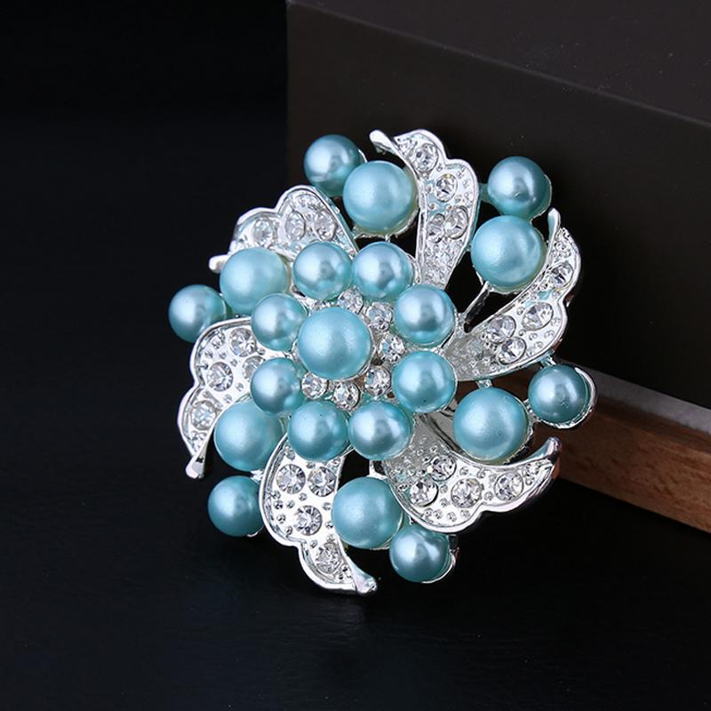 Women Elegant Flower Pearl Brooch Rhinestone Suit Lapel Pin for Gift Party Jewelry Wedding Accessories Free Shipping