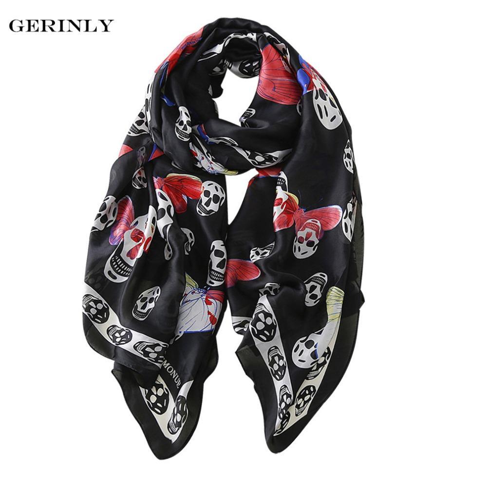 8182c5d112a20 Brand New Silk Scarf For Women Luxury Skull Butterfly Printed Bandana Hijab  Scarves Plus Size Female Beach Shawls ALL Match Camouflage Bandana Biker ...