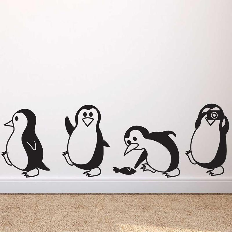 cute little penguin wall sticker home decor children's room living