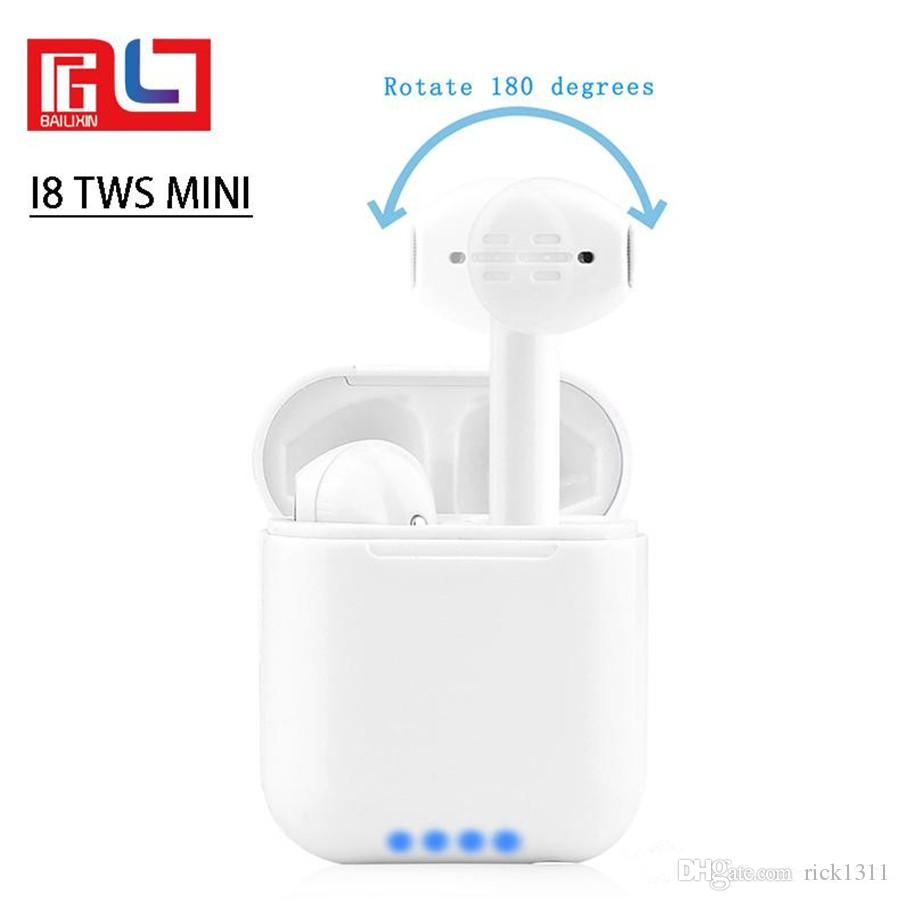 EUB I8 Mini 180° Wireless Bluetooth Headset Outdoor Sport Mini Headphones high-quality with Portable charging box Universal