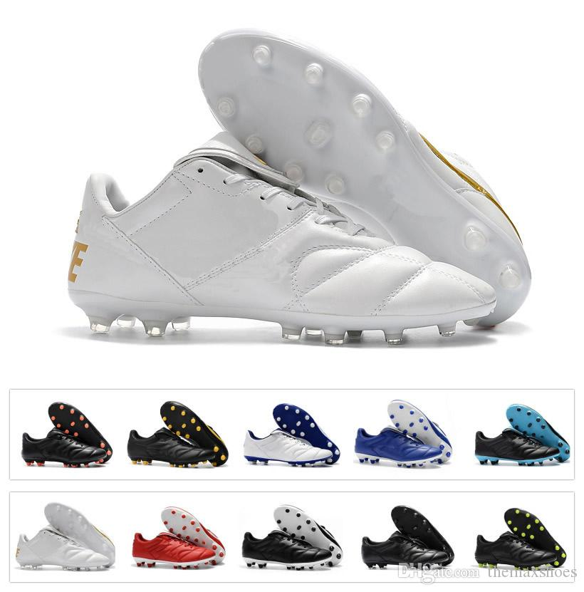 aed04471764 2019 New 2018 Mens Tiempo Legend Premier II 2.0 FG Soccer Shoes Boots Low  Ankle Cleats Retro Football Boots White Gold Black Cheap From Themaxshoes