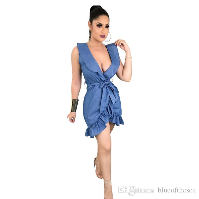 Acquista Donne Sexy Jean Denim Ruffles Abiti Lady Night Club Abito Senza  Maniche Pacchetto Hip Dress Asimmetrico Ruffles Mini Dress A  22.12 Dal ... d888f3971c5