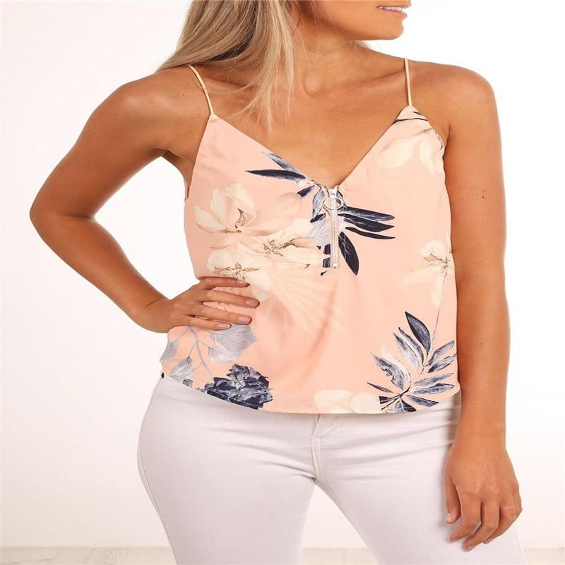 5f050a7d4b413 2019 Trendy Women Tops Backless Pullover Floral Print V Neck Summer Vest  Sleeveless Chiffon Casual Tank Tops One Pieces From Illusory04