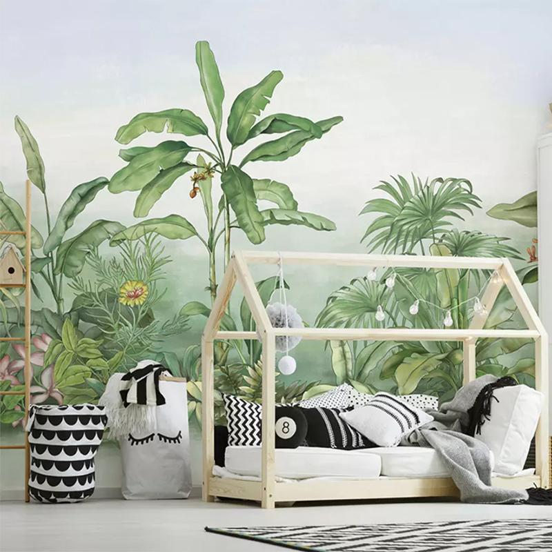 3d Wallpaper Modern Green Leaves Banana Plant Murals Living Room Tv