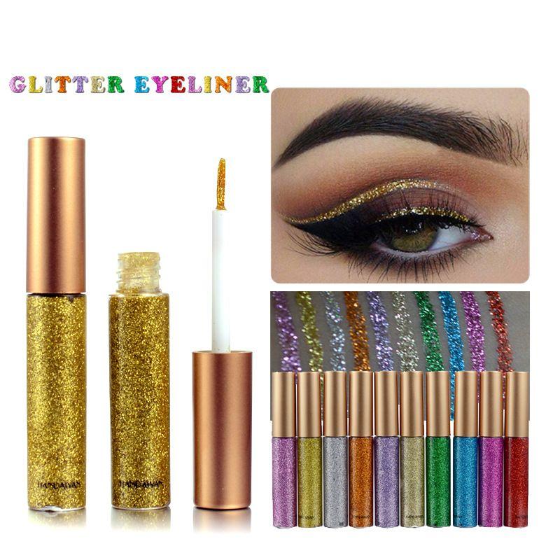 Glitter Liquid Eyeliner Pen es Metallic Shine Eye Shadow Liner Colorido brillante delineador de ojos intermitente Gotas para los ojos Marca HANDAIYAN