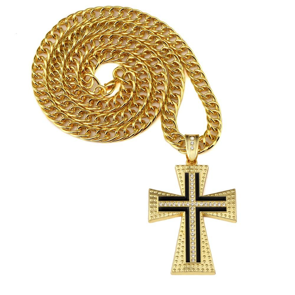 Hip Hop Jewelry Bling Big Pendants God Blessing Men Women Alloy Charm Chain Jesus Cross Long Chunky Necklace