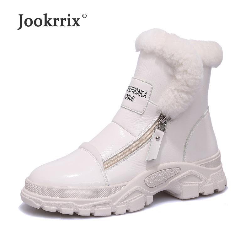 5c68d9173 Compre Jookrrix Sapatos Brancos Mulheres Marca De Moda Quente Martin Botas  Com Pele De Senhora Chaussure 2018 Inverno Feminino Footware Preto Ankle  Boots De ...