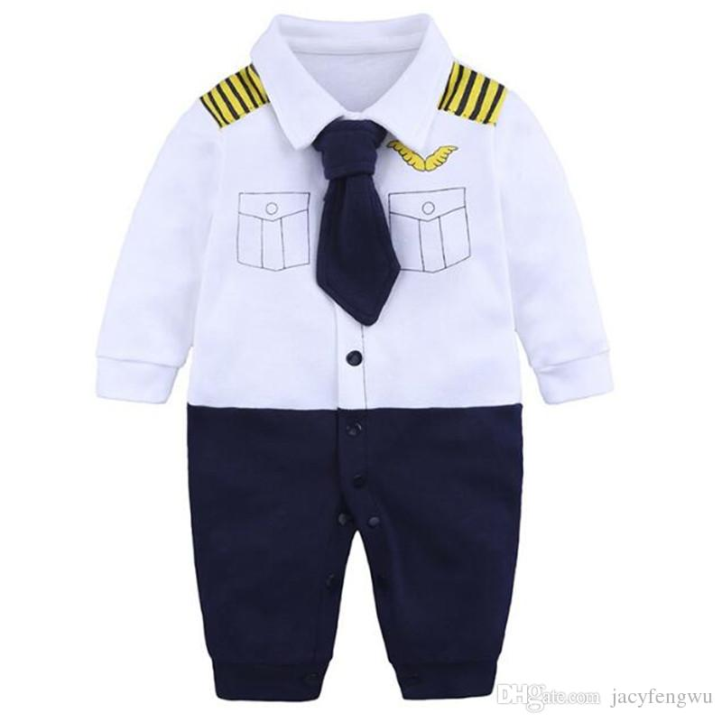68e1026a258 Newborn Baby Clothing Baby Girls Boys Navy Clothes Romper Cotton Sleeve Jumpsuits  Infant Rompers Children Toddler Boutique 8 Styles BB042 UK 2019 From ...