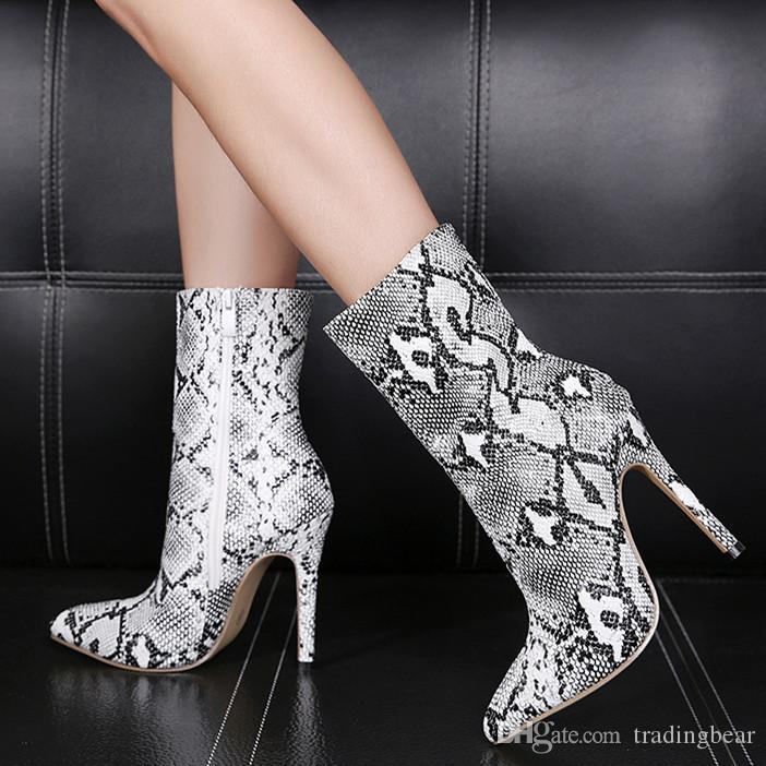 77f0297a Sexy High Heels Animal Prints Snake Grain Pointed Toe Ankle Boots Women  Designer Shoes 12cm Size 35 To 40 Black Boots Boots Pharmacy From  Tradingbear, ...