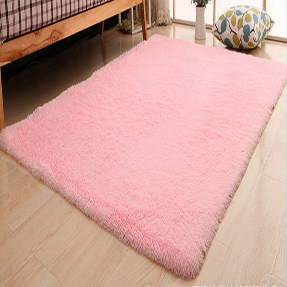 Pink Color Living Room Warm Carpet European Fluffy Kids Room Rug Bedroom  Mat Soft Faux Fur Area Rug Rectangle Mats Custom Made Blanket