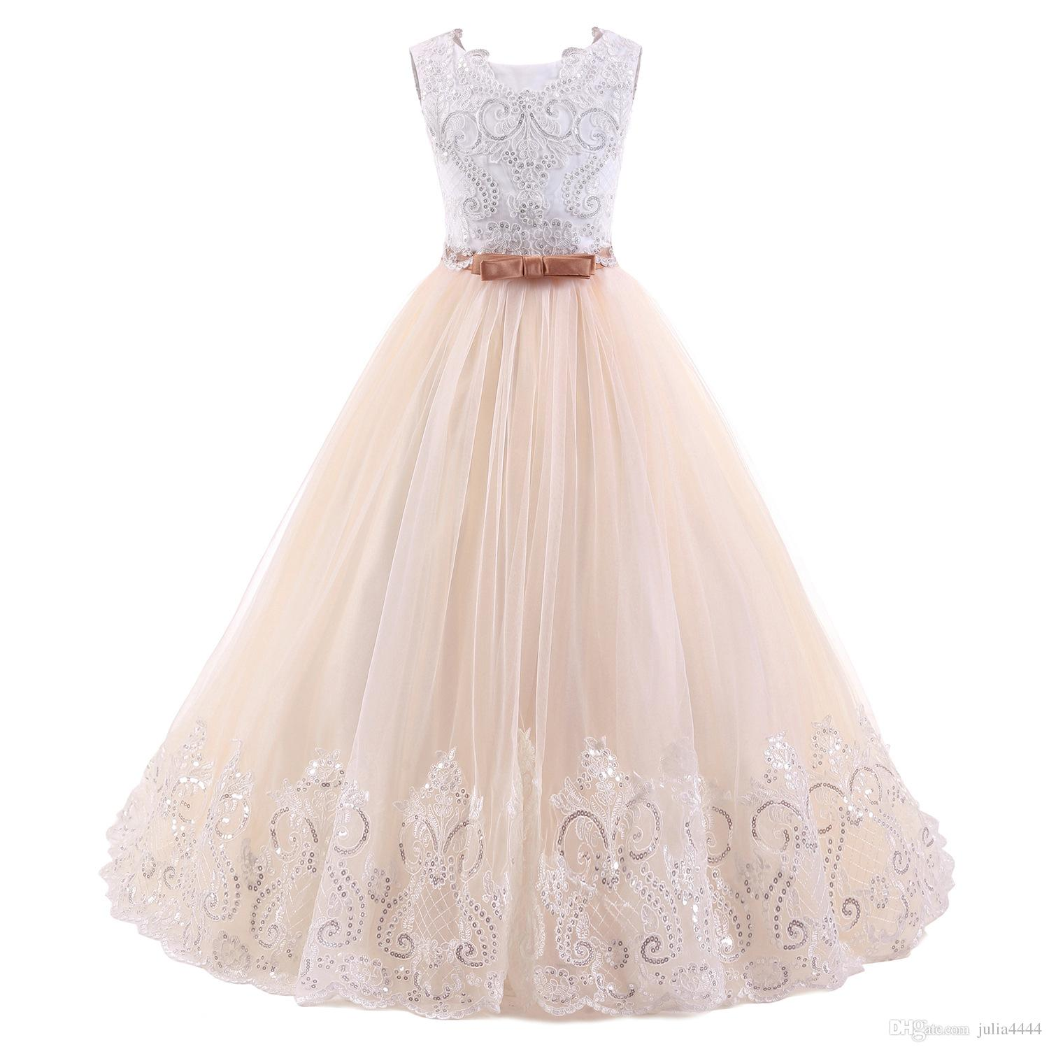 Flower Girl Dresses for Wedding Blush Pink Princess Tutu Sequined Appliqued Lace Bow 2019 Vintage Child First Communion Dress Custom Made
