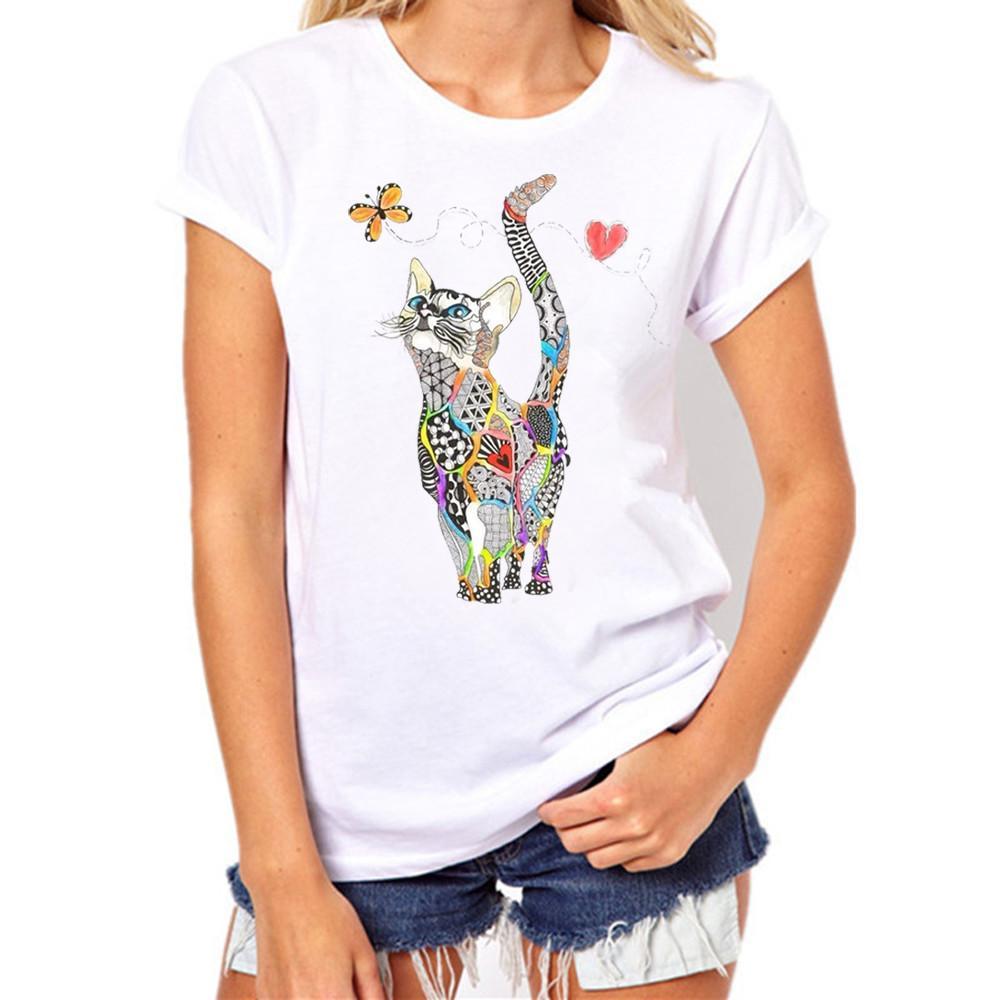 aa02b3f8a Compre T Shirt Mulheres Plus Size 3xl Único Gato Impressão Tees Camiseta De  Manga Curta Camiseta Crop Top Super Qualidade Camisetas Mujer De Qinfeng06
