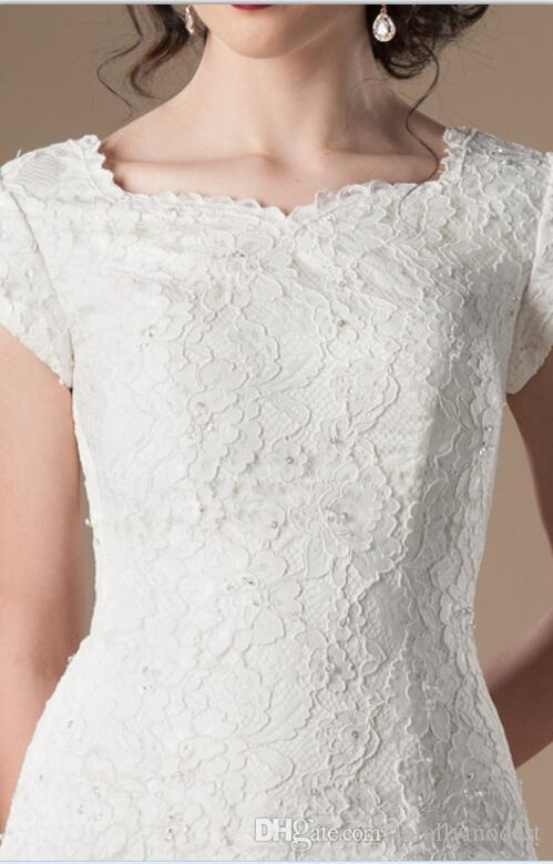 2018 New Vintage Lace Long Modest Wedding Dresses With Cap Sleeves Simple Tulle Corset Women LDS Bridal Gowns Sleeved Dropped Waist A-line