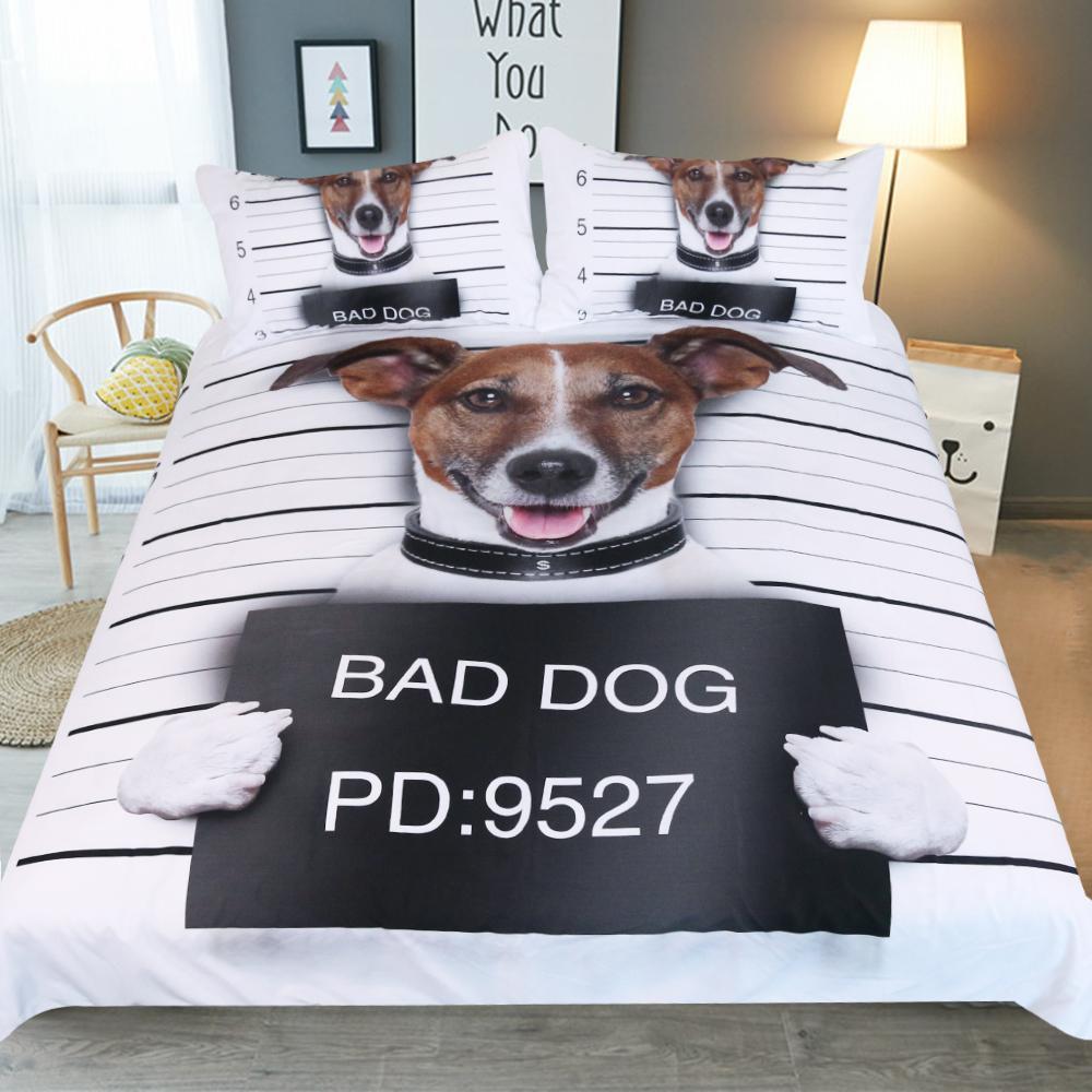 Nach Maß Karikatur Hundemuster Jungen Mädchen Erwachsenes Kind Bettwäsche 3pcs Bettwäsche Sätze Bett Abdeckungs Bett Blatt Bettbezug Kissenbezug
