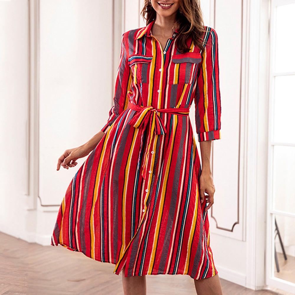 c3be3b5a60 Compre Vestido De Fiesta De Otoño De La Ropa De Las Mujeres 2018 Elegante  Estampado De Rayas Camisa De Las Señoras Vestidos De Invierno Vestido De La  ...