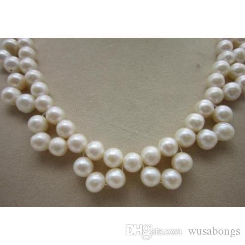 670e20b8f03e Compre Encantador Collar De Perlas Naturales De 10 11 Mm Blanco Mar Del Sur  Tejido A Mano 18 Pulgadas   A  126.64 Del Wusabongs