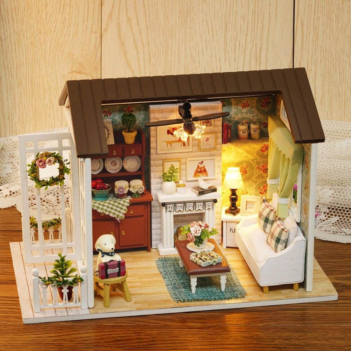 Großhandel Happy Times Holz Puppenhaus Miniatur Led Licht Montiert ...