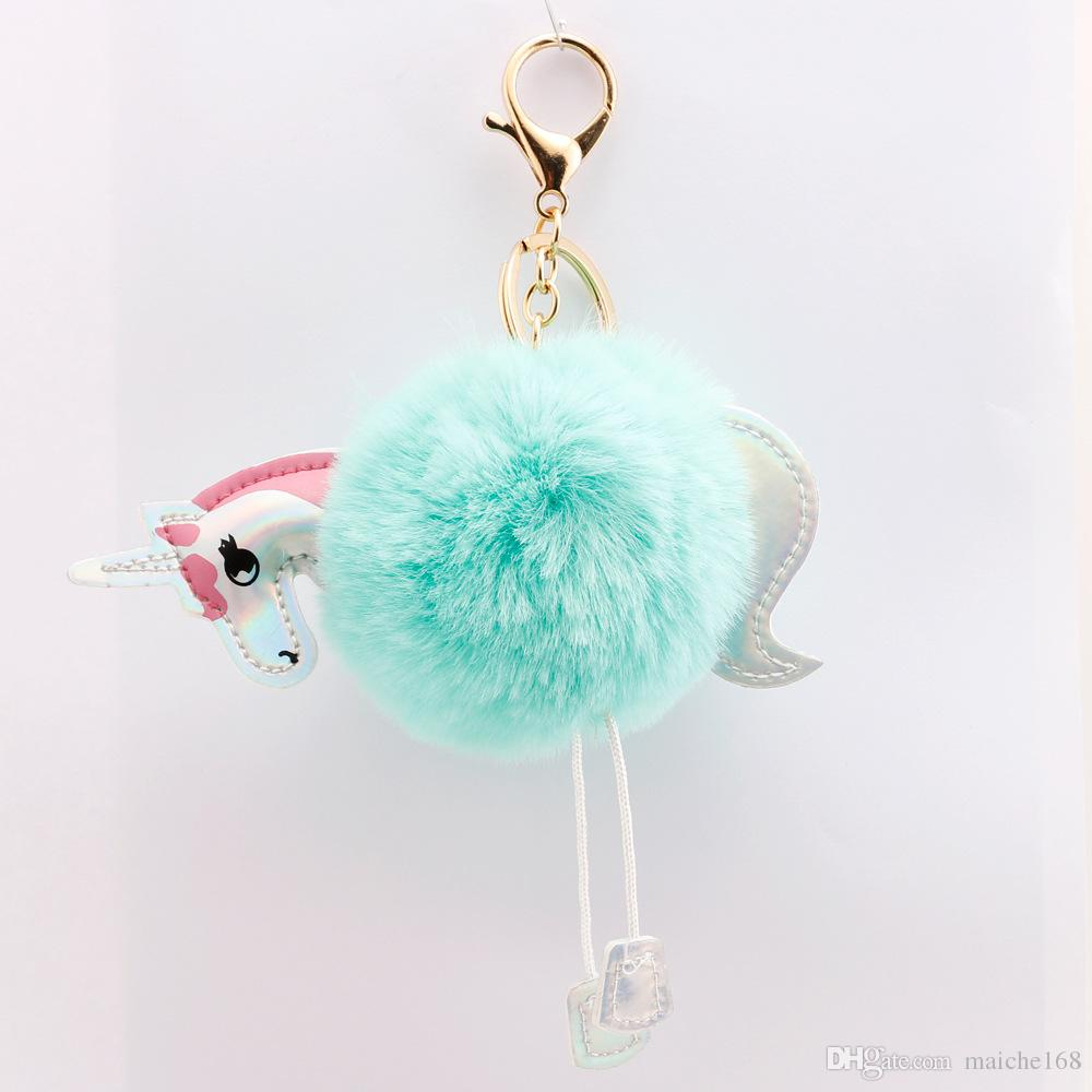 Unicorn keychain girls bag car hair ball pendant fashion cartoon pony ornaments bag pendant