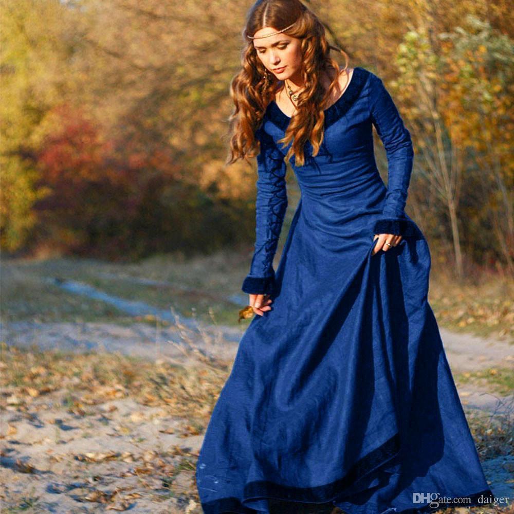 0e95017e0c4b90 Großhandel 2018 Frauen Vintage Mittelalter Kleid Kostüm Prinzessin  Renaissance Gothic Dress Von Daiger, $34.37 Auf De.Dhgate.Com   Dhgate