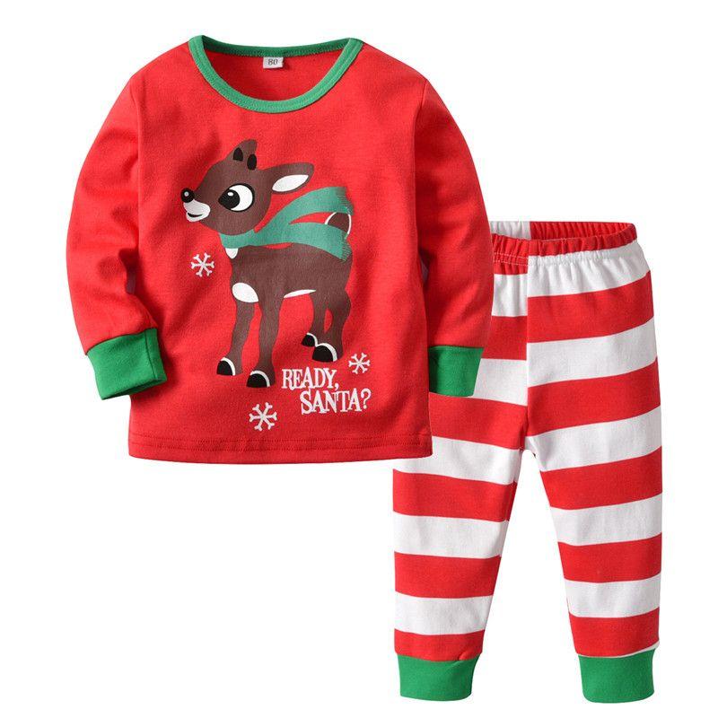 d4a5c2354aa4 Christmas Kids Baby Pajamas Set Elk Deer Pajama Striped Plaid ...