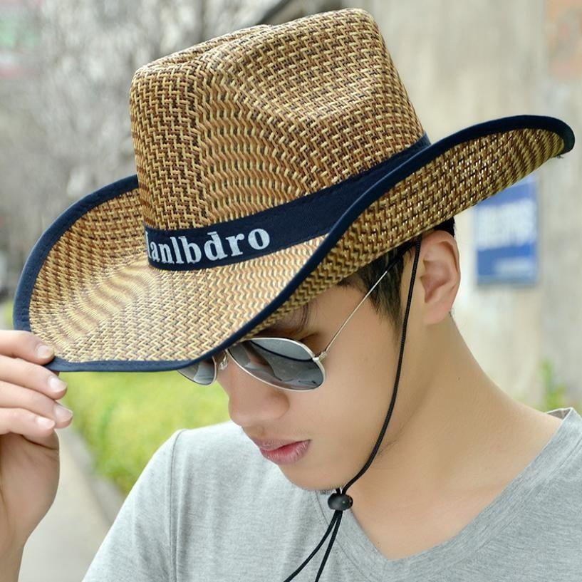 2016 Summer Men Straw Sun Hats Outdoor UV Sun Visor Hat Man Straw Cowboy  Caps Hombres De Paja Sombreros De Vaquero  PopFash  Cheap Hats Kids Hats  From ... dfbfada2c2c