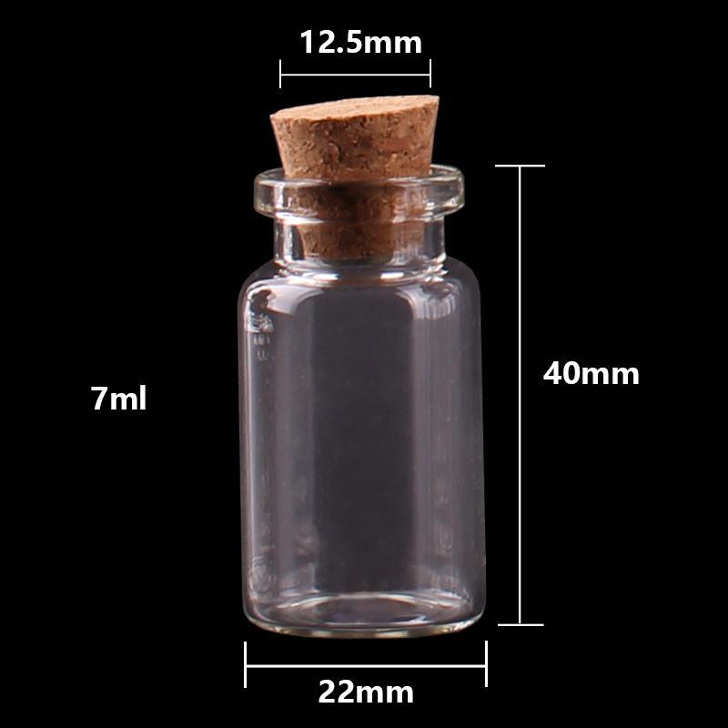 Formato 22 * 40 * 12.5mm 7 ml Mini Vetro Spice Bottiglie di Spezie Minuscole Vasi Fiale Con Tappo di sughero pendente artigianato regalo di nozze 100 pz