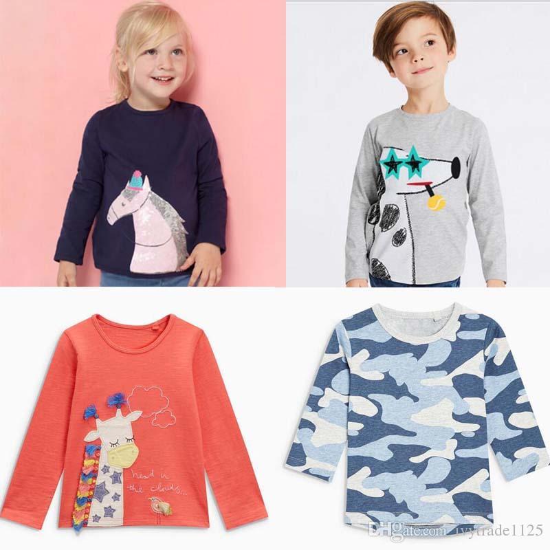 d47cf5f58 2019 NEW ARRIVAL Boys Girl Clothing Kids 100%Cotton Long Sleeve O Neck  Cartoon Stripped Rainbow Unicorn Print T Shirt Kids Spring Autumn T Shirt  From ...