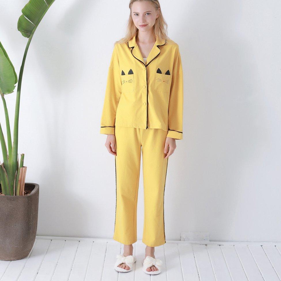 bb9c6f85b0eee2 Großhandel Womens Pyjamas Pyjamas Set Tasche Katze Langarm Nachtwäsche  Pijama Anzug Weibliche Zweiteiler Loungewear Nachtwäsche Homewear Hot Von  Aurorl, ...