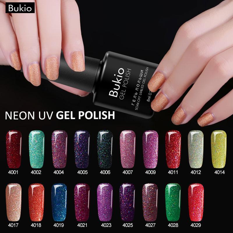 Bukio 8ml Neon UV Gel Polish Glitter Neon Nail Polish Long Lasting ...