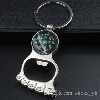 Top 2018 Personalized Keychain Creative Gift feet Compass Opener Key Chain Accessories keychain solid motorcycle keychain