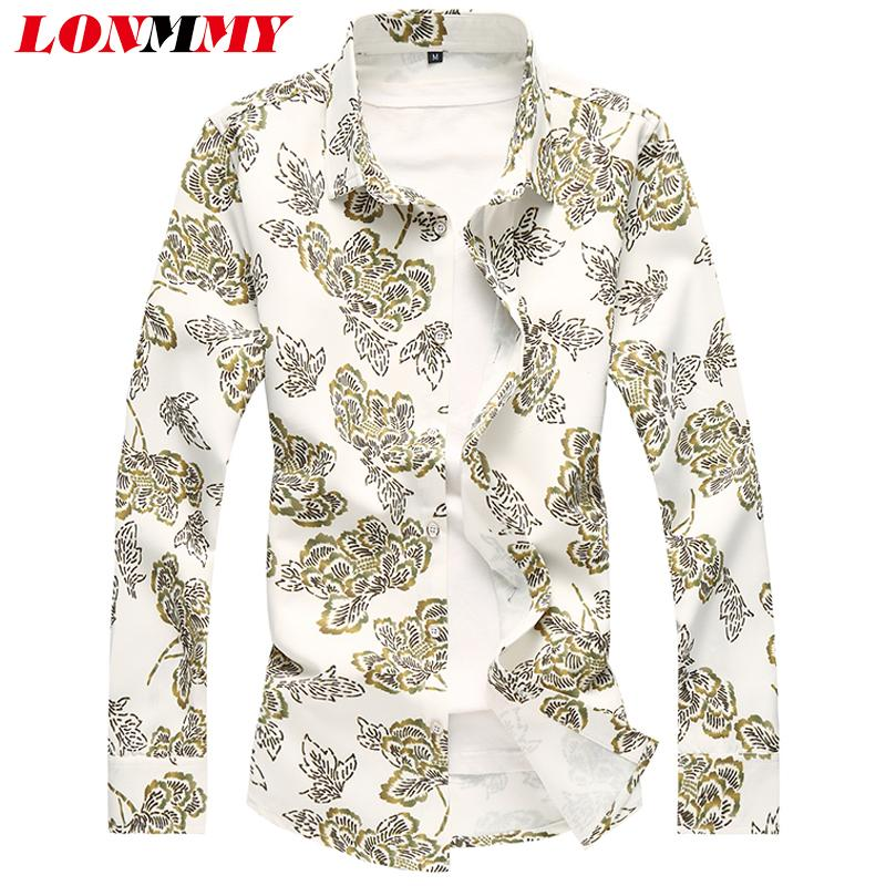 2019 Lonmmy Plus Size 6xl 7xl Digital Print Flower Men Shirt Casual