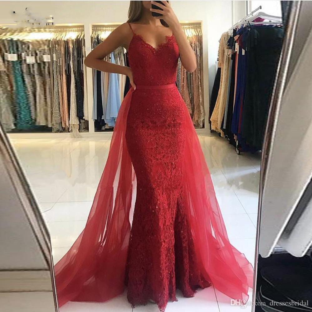 5de0a13d000 Red Lace Long Mermaid Evening Dresses With Tulle Detachable Train ...
