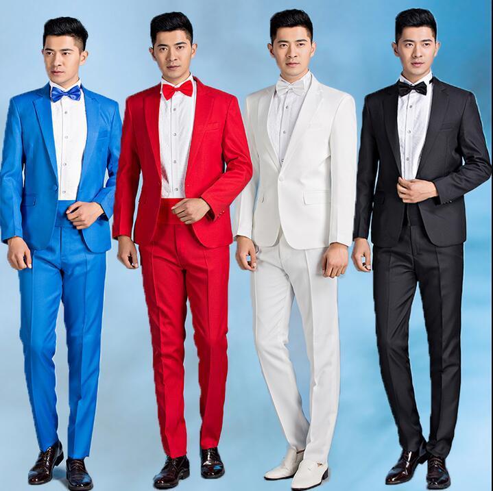 Acheter Printemps Hommes Marié Robe De Mariage Hommes Costume Costume Homme  Mâle Costumes Terno Masculino Chanteur Stade Rouge Blanc Noir Bleu Gris De  ... 0d417c5a000