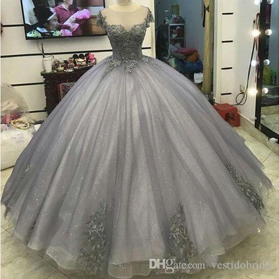 2018 Tatlı 16 Elbiseler Balo Jewel Dantel Aplike Kısa Kollu Balo Resmi Elbise Vestido De 15 Anos Quinceanera Mezuniyet Elbisesi Vintage