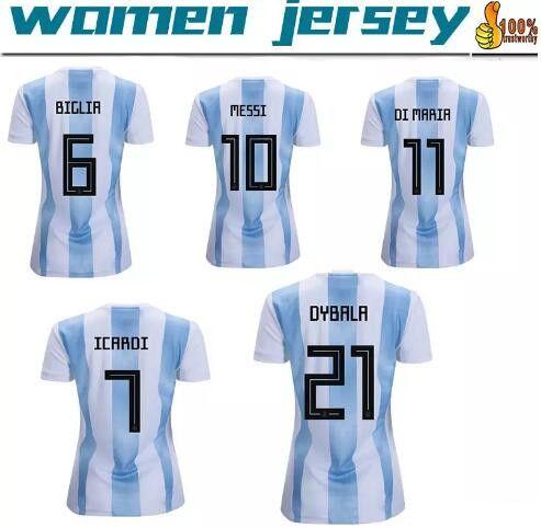 new arrivals 4d314 c9760 2018 Argentina women jersey Messi DYBALA DI MARIA 18 19 Argentina world cup  home Away girls AGUERO ICARDI TEVEZ Football Shirts