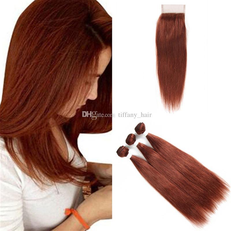 33 Dark Auburn Human Hair Weave Bundles With Lace Closure Silky