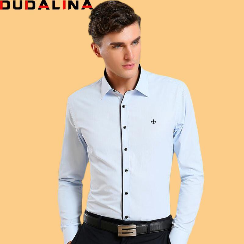 56aa24a5e7508 Compre Dudalina Camisa Camisas Masculinas Camisa Dos Homens De Manga Longa  Marca De Roupas Inteligente Casual Slim Fit Camisa Masculina Social Chemise  Homme ...