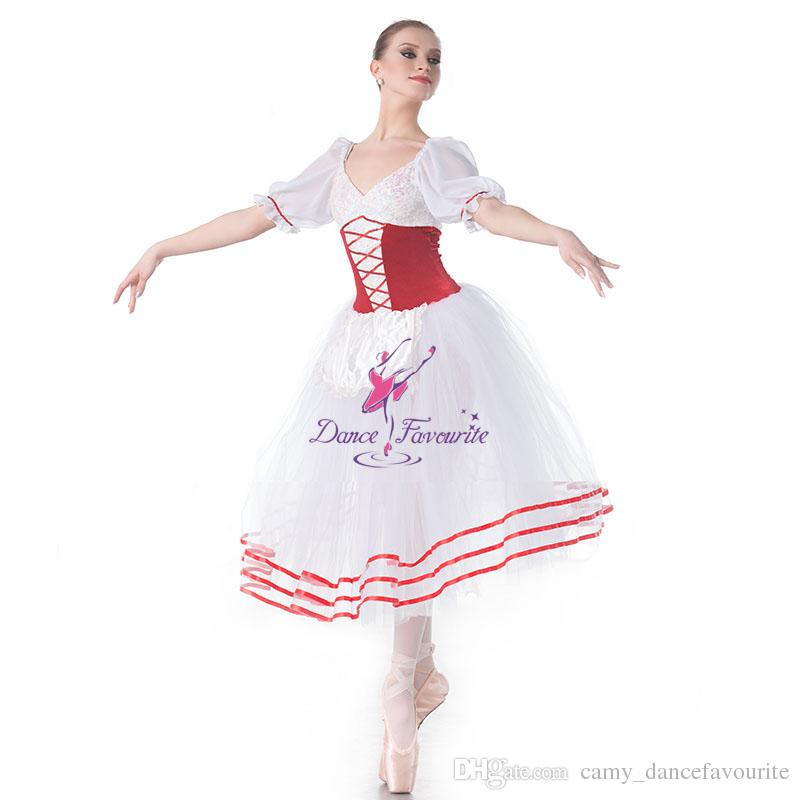 bd5dcb86ba5c9 2019 Drop Shipping Short Sleeve Adult Girls Ballet Dance Costume For  Performance White Romantic Ballet Tutu Long Dress 18002 From  Camy_dancefavourite, ...