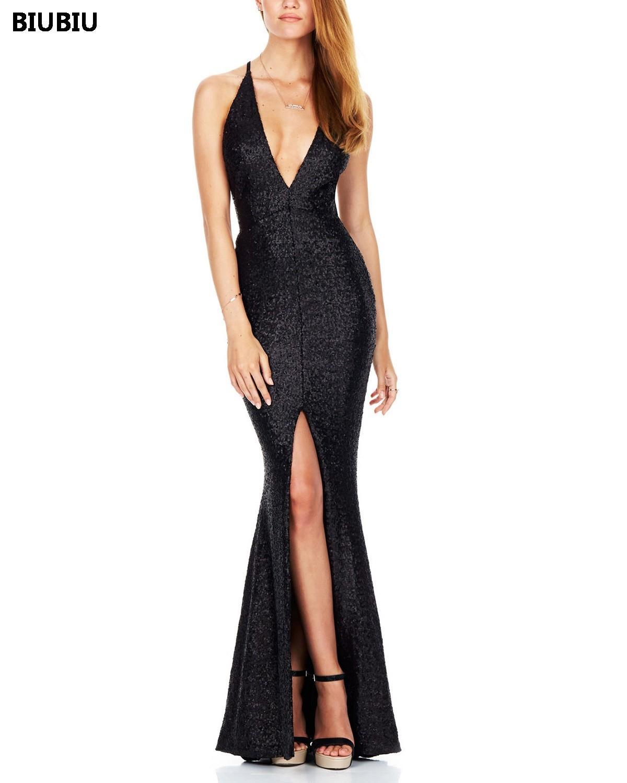BIUBIU Women Sexy Sequined Maxi Dress Party Backless High Split Deep V  Sequin Long Dress Spaghetti Strap Solid Evening Vestidos Formal Gown Prom  Dress ... d00f5b559
