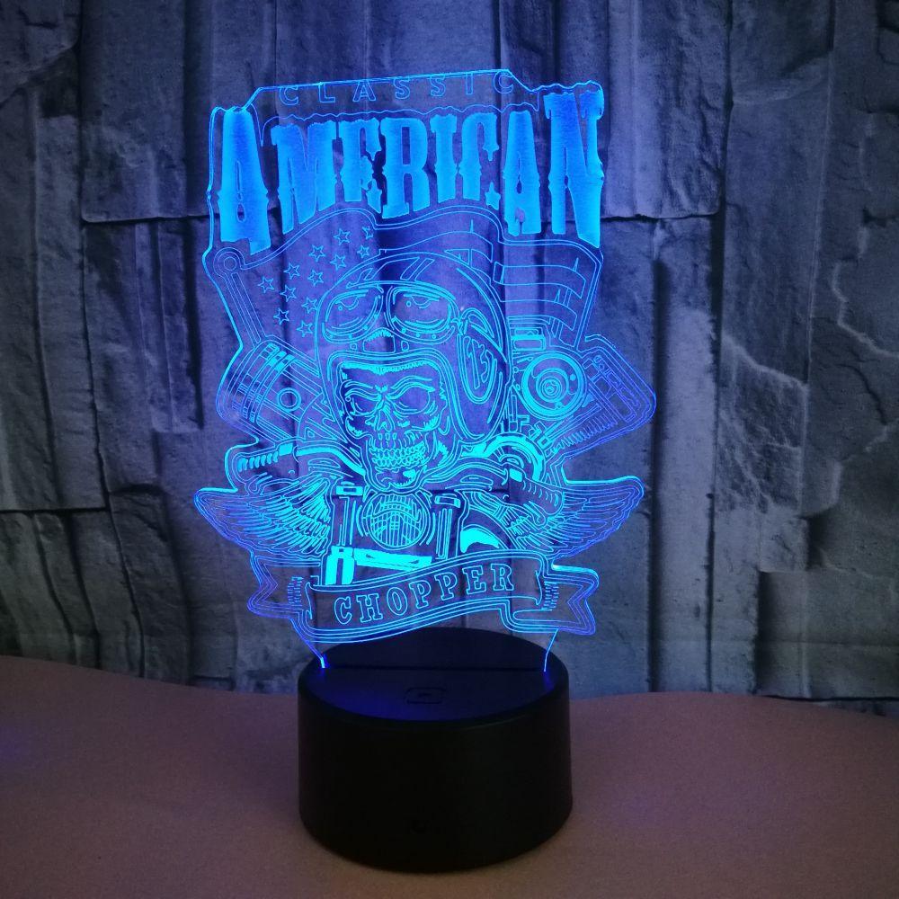 купить оптом Led Night Light 3d Light светодиодные лампы череп 3d