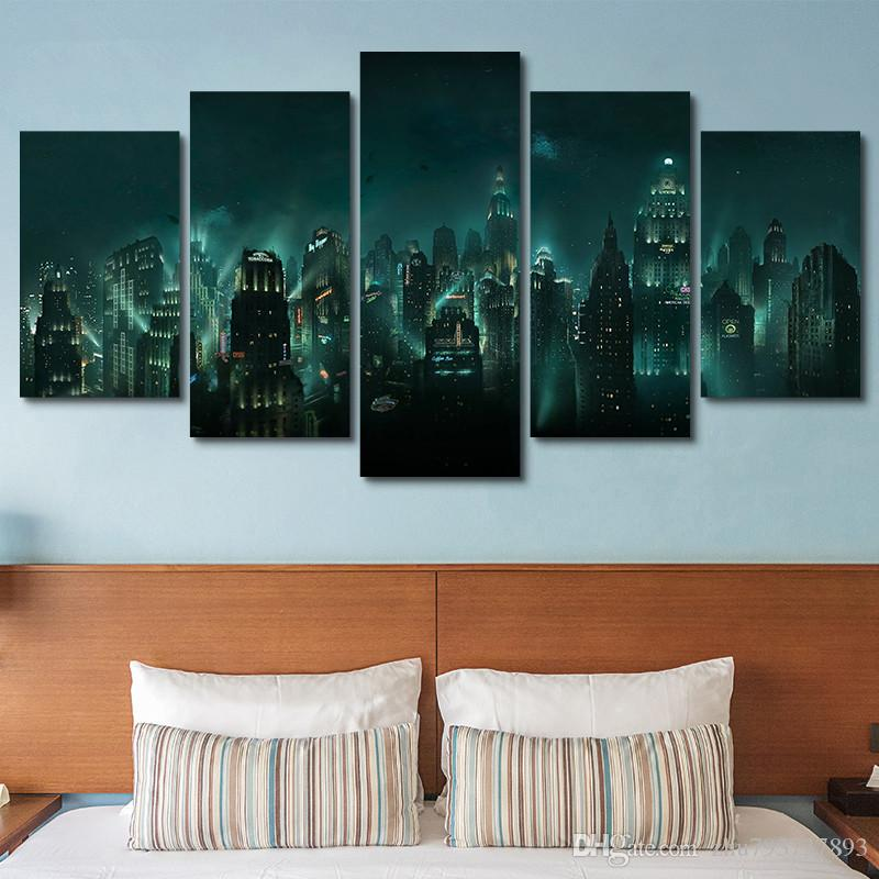Lovely 2018 Canvas Pictures Hd Print 5 Panel Modular Abstract Bioshock Rapture  Night View Painting Game Poster Wall Art Framework Home Decor From  Zhu793737893, ...