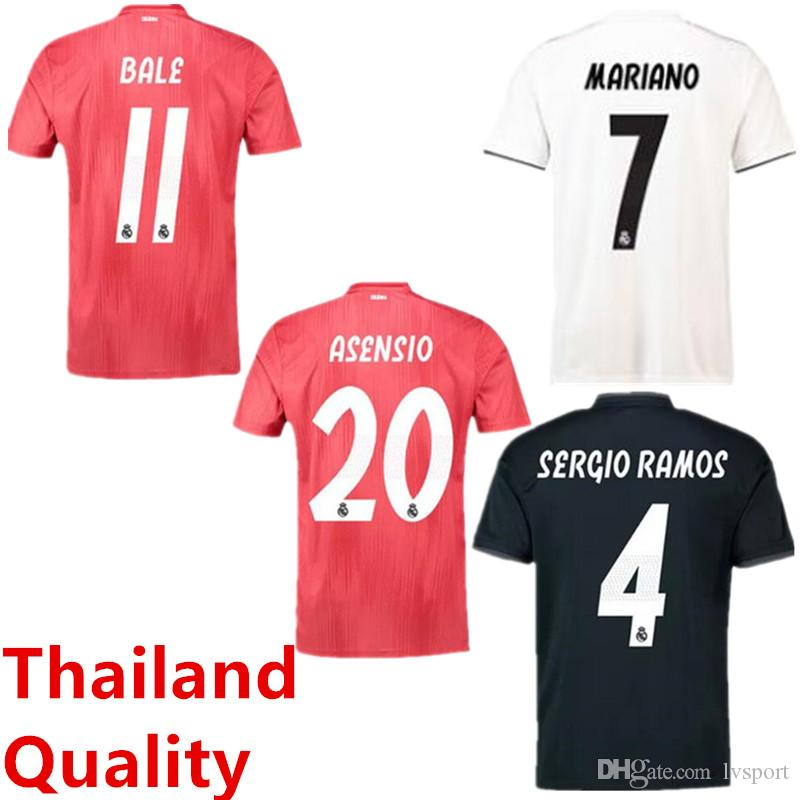 2019 18 19 Real Madrid Home Away Soccer Jerseys Thailand Jerseys 2019  MODRIC BALE KROOS ISCO BENZEMA 3rd Football Shirts Mariano New Jerseys From  Lvsport 099e16e3a