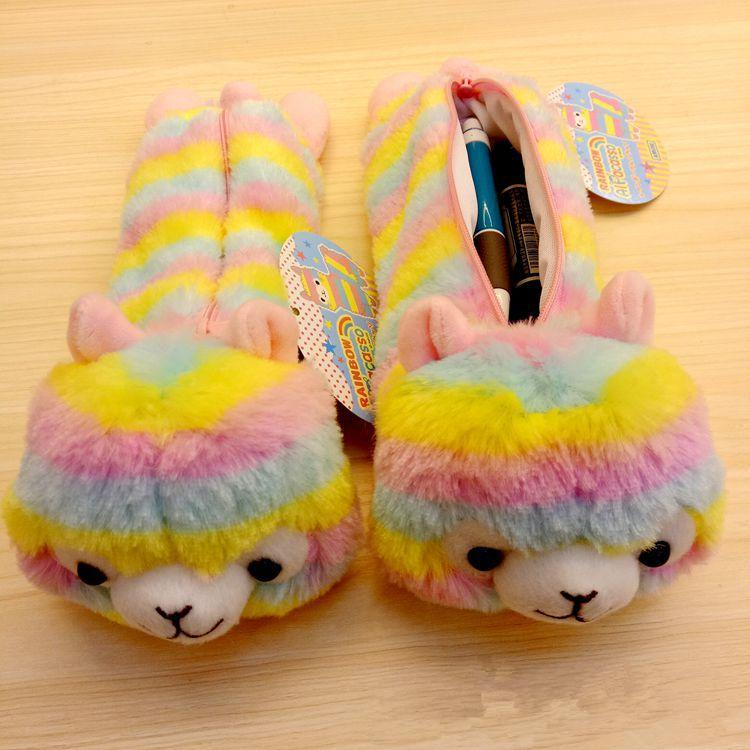 4957ad6b43 Baby Rainbow Stripe Alpaca Coin Purse Kids Plush Stationery Bags Toy  Cartoon Pencil Case Cute Alpacasso Wallet MMA748 Luxury Handbags Hobo  Handbags From ...