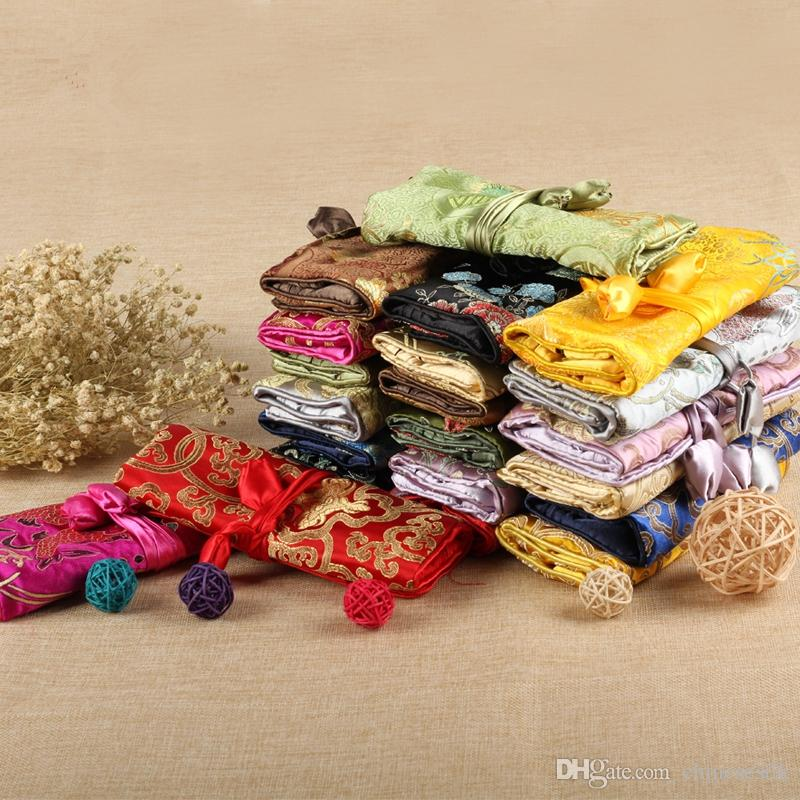 Luxury Silk Brocade Jewelry Travel Roll Bag Floral Drawstring Cosmetic Storage Bag Large Zipper Foldable Women Makeup Bag
