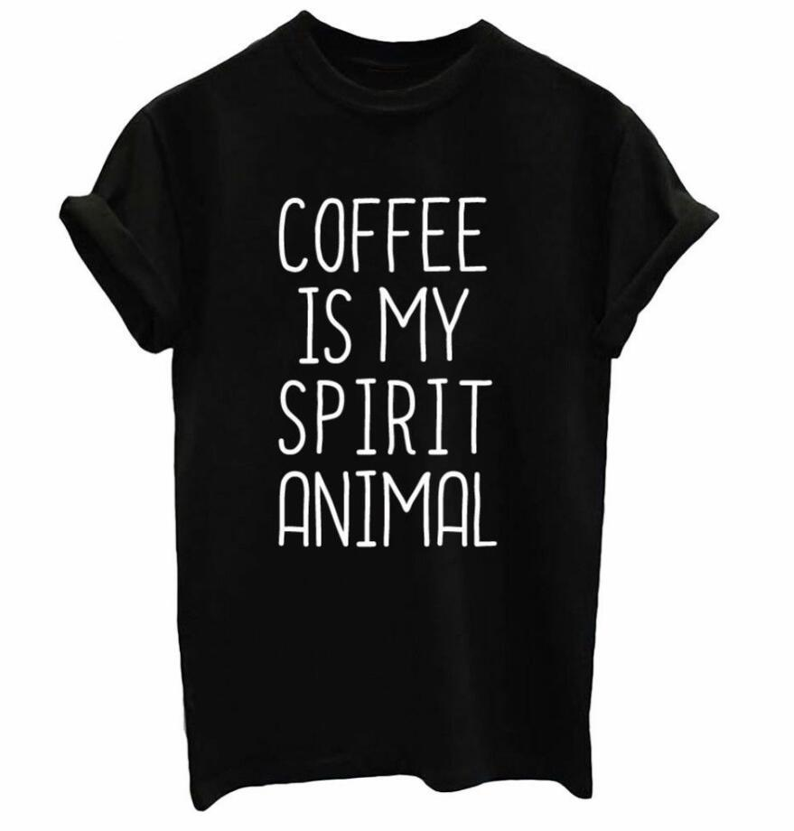 0c30bcdc Women's Tee Coffee Is My Spirit Animal Graphic Letter Printed T Shirt Short  Sleeve Casual Stylish Tee Trendy Aesthetic Ladies Tops Outfits