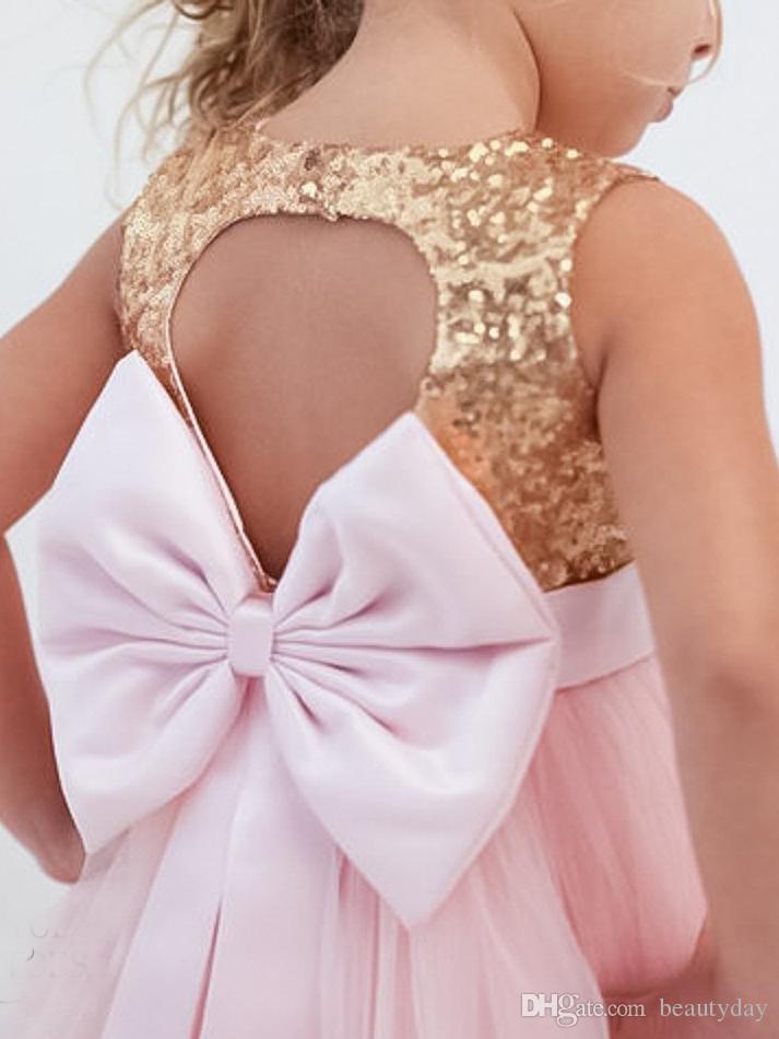 2020 год сбора винограда золотые блестки цветочные платья для девочек розовый Tull ребенка младенческой малыша крещение одежда девушки цветка платья кружева пачка бальные платья дешево