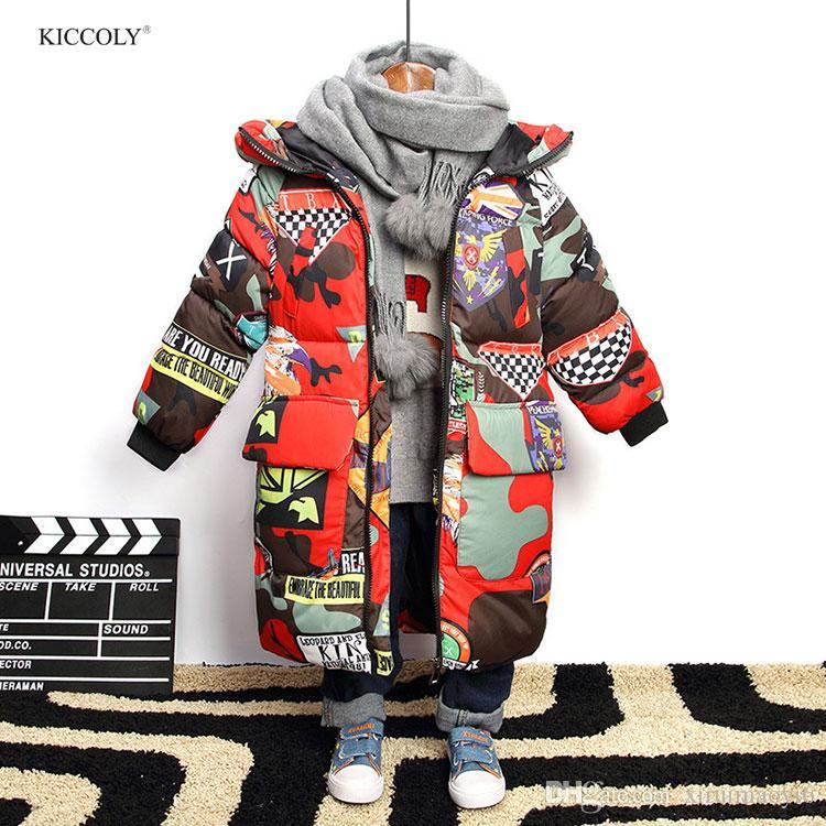 99fdd7ef3 Jacket for Boys New 2018 Brand Hooded Winter Jackets Graffiti ...