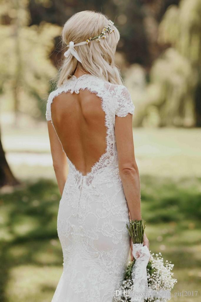 2018 Berta Bohemian Cap Sleeved With Pearls Mermaid Wedding Dresses Backless Sweep Train Garden Beach Bridal Gowns