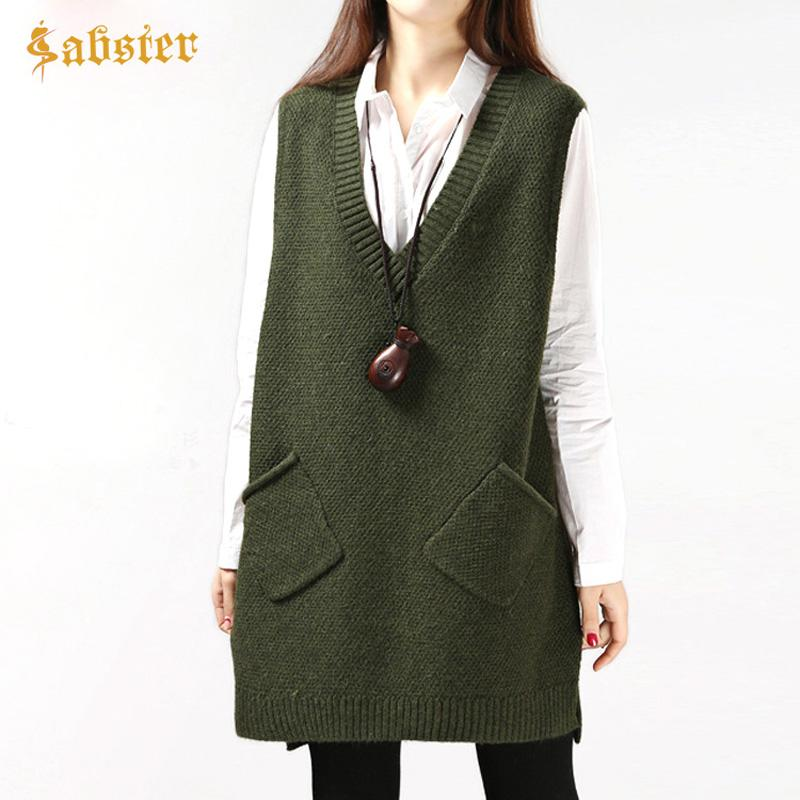 2019 2017 New Autumn Sleeveless Women Sweater Vest Casual V Neck Female  Long Knied Waistcoat Oversize Ladies Pullover Loose Jumper From Vanilla15 87fcac333